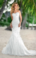 Free Shipping Best Selling   Beaded Ruffles Sweethrart Mermaid Wedding Dress Wholesale/Retail Custom-Made