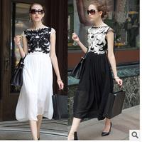 2014 European New Fashion Embroidery Dress Women Summer Shortsleeve Long Pleated Chiffon Dress Brand Celebrity Party Dress