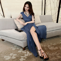 2014 new women bohemian long chiffon dress cap sleeve slit side v neck solid maxi dress