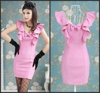 Summer Korean Style Woman Sleeveless Solid Bow Ruffles Pink Mini Dress Slim V-Neck Collar Sheath Party Dress Cute High Quality