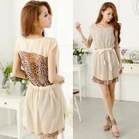 Free shipping New 2014 women summer dresses fashion design fake two leopard chiffon sleeveless dress sweetheart sexy girl dress