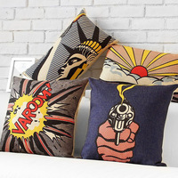 Free shipping Novelty Cool Pop Art Gun Fire Statue of Liberty Sunrise Pattern cushion cover home decoration throw pillow case