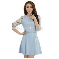 Brand fashion lady casual dress 2014 new blue& yellow dress Polka Dot winter dress thickening women chiffon dress free belt S-XL