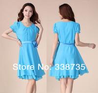 New 2014 women summer dress fashion casual short-sleeve chiffon one-piece dress brand design cool beach dress & princess dress
