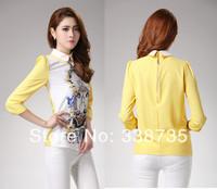 New 2014 upscale winter dress women blouse spring &autumn women's basic sweet chiffon shirt cartoon printed shirt tops for women