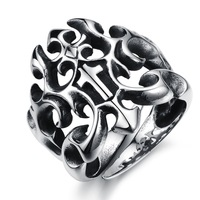 Fashion Creative Hollow-out Cross Design Personalized Stainless Steel Ring Attractive Party Men Jewelry Rings 407