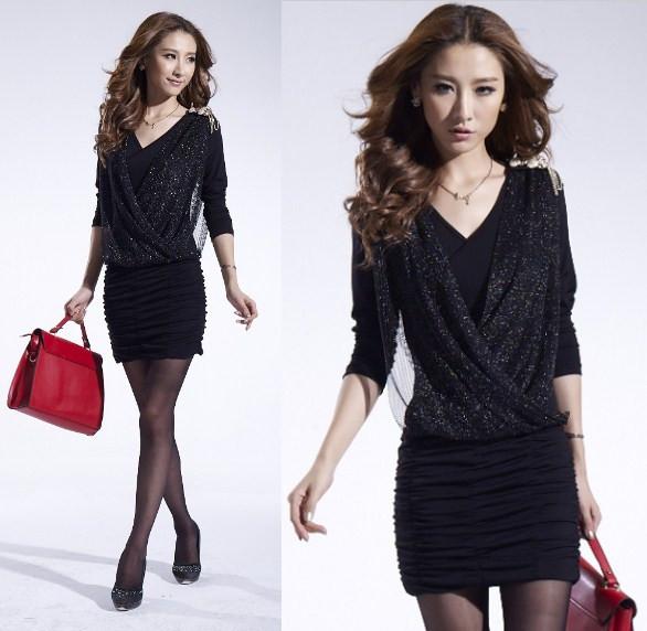 Sale boho fashion casual dress high street brand design plus size Black & pink woman dress gauze draped summer clothes for women(China (Mainland))