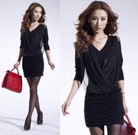Sale boho fashion casual dress high street brand design plus size Black & pink woman dress gauze draped summer clothes for women