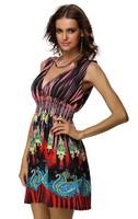 20 colorsNew 2014 Fashion Retro Vintage Print Vestidos Deep V Neck Boho Casual Summer Dress Women Beach Dress Plus Size