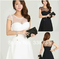 New 2014 summer women casual dress Korean Free size Sexy Slim dot lace dress black & white high waist backless womens dresses