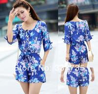 New 2014 casual rompers womens jumpsuit famous brand design retro flower print women coveralls jumpsuit S-XL chiffon coveralls
