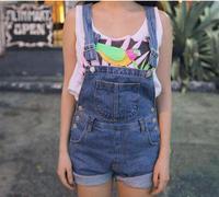 2014 new summer women fashion causal denim overalls hemming cowboy jumpsuit short pants Size S  M  L  Color blue