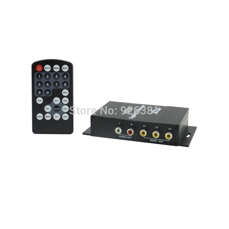 Free shipping,ISDB-T Dual Tuner Digital Car TV Receiver Box w/ Antenna / MPEG-4 / 4 VIDEO for Brazil - Black (12V)(China (Mainland))