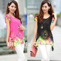 Hot 2014 new winter dress women blouse fashion brand design plus size loose chiffon shirt Printing personalized tops for women