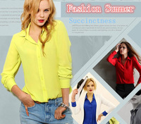 Sheer blouses New 2014 spring-summer Fashion women Slim chiffon cardigan blouse Lady Plus Size Shirts Casual Tops Work Wear