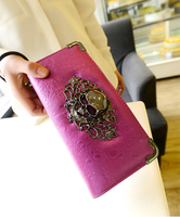 Free shipping brand women wallet High quality smooth PU leather  Long design purses vintage punk wallet skull clutch bag