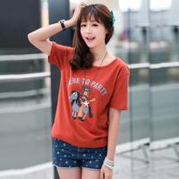 2014 summer T-shirts famous brand Cartoon small donkey women short-sleeved  t-shirt European style wild casual women tops M-XXL