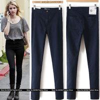 2014 woman high waist skinny Fashion black pencil pants jeans