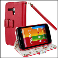Cloth Pu leather wallet stand case for motorola moto g with red color  +  free shipping