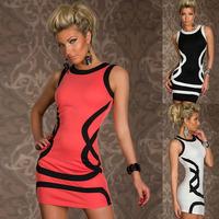 3 Colors New 2014 Cute Lady Patch Tunic Dress Sexy Sleeveless Slim Dresses Ladies Mini dress Club Wear Women's Dresses Plus Size