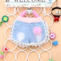 Free Drop shipping 2014 New Summer Fashion soft flora Children Baby girl jean shorts A235