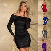 New 2014 Fashion Off-Shoulder Sexy Dress Women Intimate Nightwear Hot Party Clubwear Dress 5 Color MOQ 1 Piece  Plus size XL
