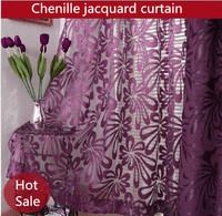 2014 European high-grade curtain double-sided jacquard chenille purple window curtains living room bedroom custom made free
