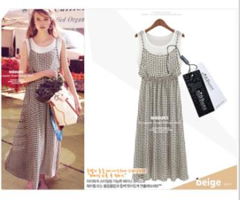 2014 New Ladies European stations Plaid patchwork False two chiffon dress(China (Mainland))