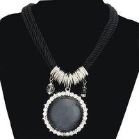 Women Rhinestone Embroider Pendant Nylon Rope Imitation Gemstone Necklace (black) 62650