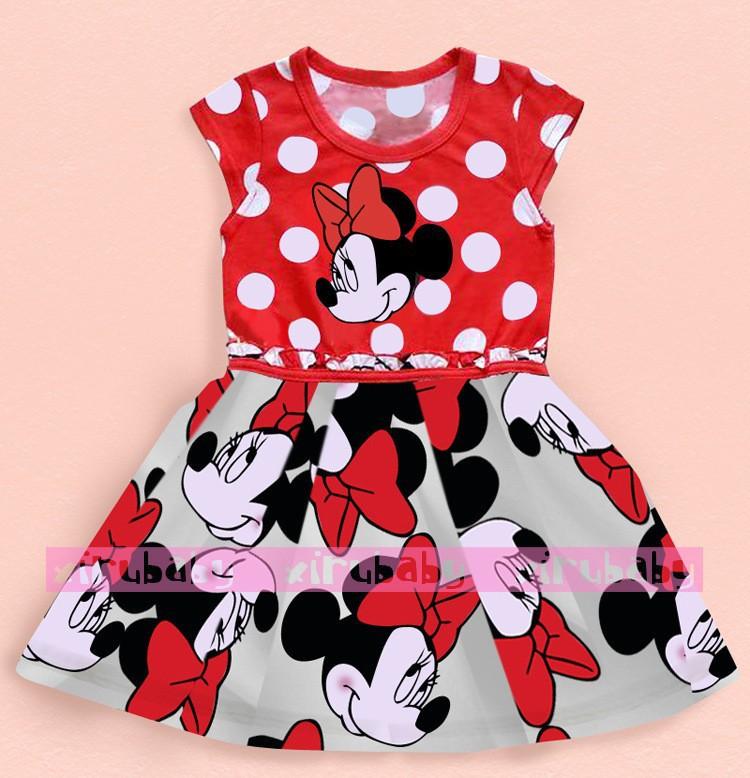 Free shopping 2014 new summer dress girl Minnie printing dot sleeveless dress dress girl fashion(China (Mainland))