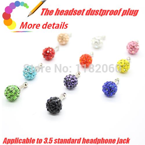 Luxury Phone Accessories Small Diamond Rhinestone 3.5mm Dust Plug Earphone Plug For Iphone Ipad & Samsung& HTC Wholesales 8 pcs(China (Mainland))
