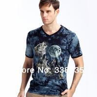 New 2014 mens tee shirts summer fitness 3D cartoon wolf short sleeve casual shirt fashion modal slim luminous t-shirt for man