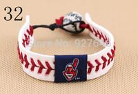 Major league baseball Weave a cow leather porcelain bead bracelets Cleveland indians baseball team