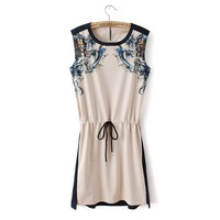 New Arrival! Retails European and American retro round collar sleeveless Printed drawstring women dress fashion dress
