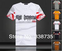 Summer men's short sleeved t-shirt 2014 fashion 3D Skull With diamonds Mens T-shirt 100% cotton Korean Slim mens shirts M-XXL