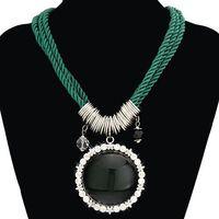 Women Rhinestone Embroider Pendant Nylon Rope Imitation Gemstone Necklace (dark green) 62653