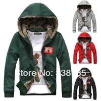 High quality man hoody 2014 new cotton autumn & winter plus velvet hooded sweater Korean keep warm sweatshirts & men's clothing