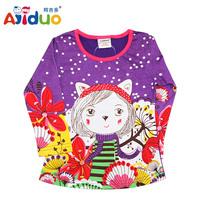 2014 New AJIDUO Kids Brand Children Clothing Fashion Casual Printed Cartoon Girl Shirt Autumn Long Sleeve T-shirt For Baby Girls