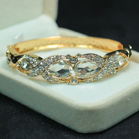 Retail and Wholesale  Charming New Fashion 18K Gold Plated Clear Crystal Bangle Bracelet B730 Free Shipping Worldwide