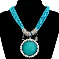 Women Rhinestone Embroider Pendant Nylon Rope Imitation Gemstone Necklace (light blue) 62654