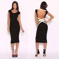 Women Clothing Women Summer Dresses Backless Bandage Black Bodycon Dress Sexy Bodycon Bandage Dress