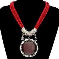 Women Rhinestone Embroider Pendant Nylon Rope Imitation Gemstone Necklace (red) 62656