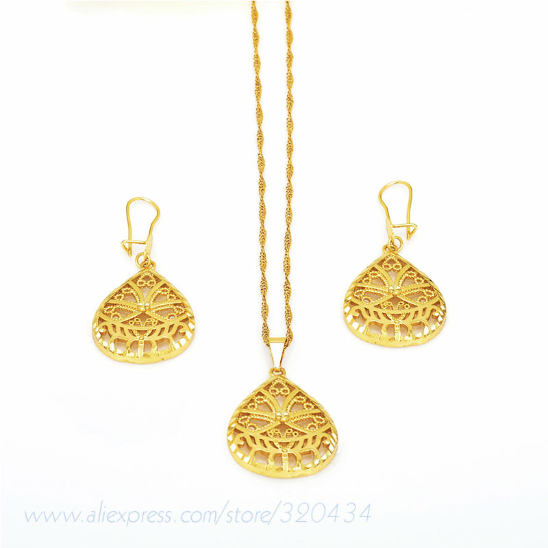 Free Shipping 2014 Best Selling Latest Design Drop Shape Necklace Pendant&Earring Dubai 18k Gold Plated Women Jewelry Set(China (Mainland))