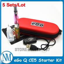 5 pcs/lot New 2014 Wholesale eGo Q Electronic Cigarette Starter Kit with CE5 Atomizer 650 mAh Battery eGo CE5 E-cigarette kits