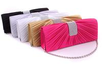 2014 New Women's Evening Bag Banquet Handbag Diamond HardCase Satin Clutch Chain Crossbody Party Bag 5 Colors, FreeShipping
