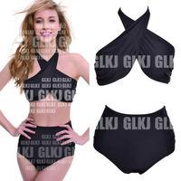 Details about Retro High Waisted Vintage Push Up Bandeau Bikini Set Sexy Swimsuits Swimwear