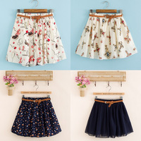 2014 new female wave point printed skirt of summer of South Korea's version of the sweet printed chiffon pleated skirt