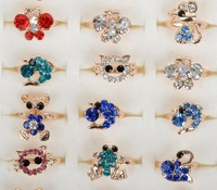 Wholesale Jewelry Lot 20pcs Gold Plated Assorted Design Crystal Ring Cute Kid Child Party Small Size Adjustable Rings