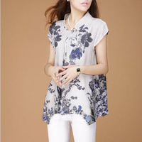 Summer ink blue and white porcelain stand collar national trend loose irregular top women's shirt