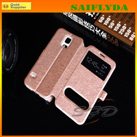 Free shipping by DHL PU Leather Flip Cover For Samsung Galaxy S5 Case Double Windows